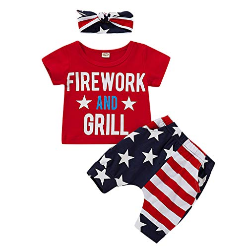 LiLiMeng Infant Baby Boy 4th of July Stars and Stripe Patriotic Short Sleeve Letter Shirt Shorts Set Outfits Pockets Red