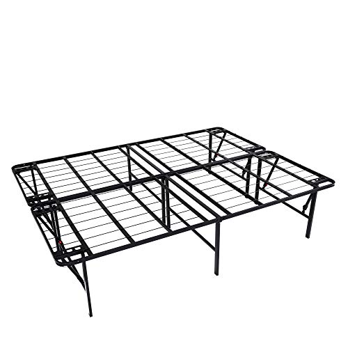 intelliBASE Lightweight Easy Set Up Bifold Platform Black Bed Frame, King 18