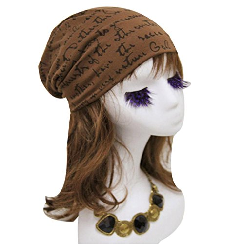 WensLTD Cotton Winter Warm Women Men Letter Print Hip-Hop Beanie Hat Baggy Skull Cap (Coffee)