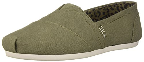 Skechers BOBS Women's Bobs Plush-Peace & Love Sneaker, Olive, 7.5 M US ()