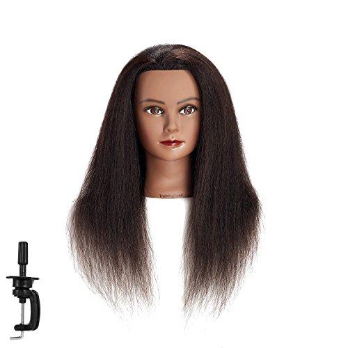 100% Real Hair Mannequin head Training Head Cosmetology Manikin Head Doll Head with free Clamp (C)