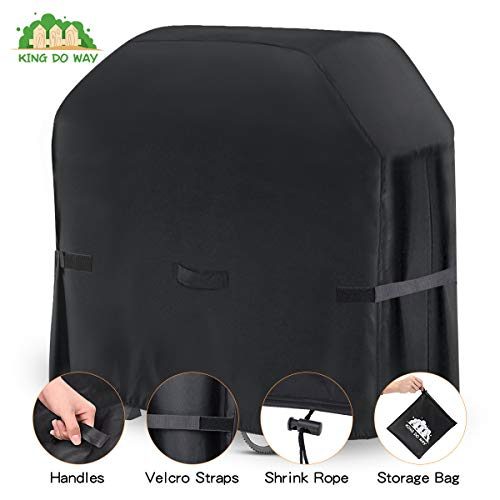 king do way BBQ Grill Cover Heavy Duty Waterproof Grill Cover with Handle,Straps,Storage Bag and Shrink Rope,Outdoor Rip-Proof,Dust-Proof,Anti-UV for Weber,Brinkmann,Outback,Char-Broil etc,58 inch