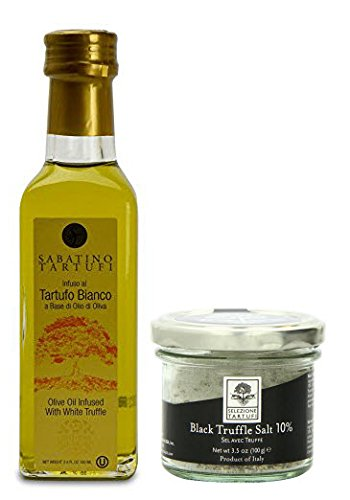 (Selezione Tartufi Black Truffle Salt 10% (3.5 oz) + Sabatino Infused White Truffle Oil – Imported From Italy (3.4 oz))
