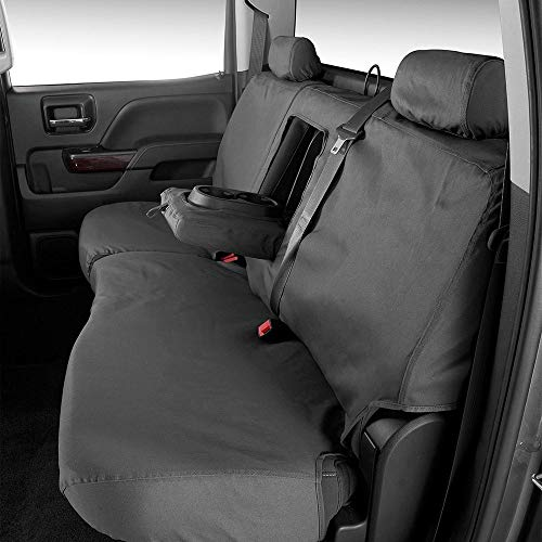 Covercraft 2nd Row Black Charcoal Rear Seat Covers fits Dodge Ram Big Horn/Laramie/Laramie Longhorn/Limited/SLT Mega Cab 40/60 Split Bench Seat