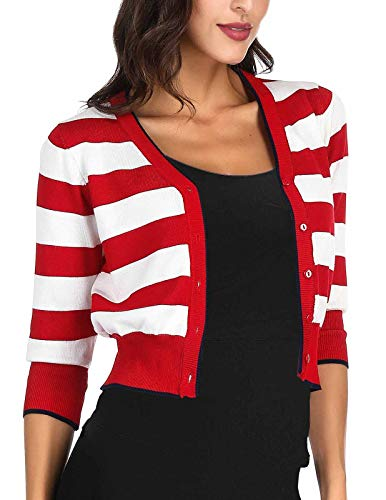 Vintage Cardigan Classic (1950's Vintage Sweaters Cardigan for Women Contrast Color(L, Red 005))