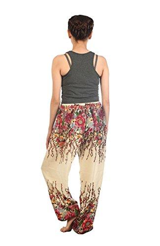 Floral Donna 1 Ivory Pantaloni Lofbaz Casual Aladdin da Coulisse Harem bohemien boemo qOntz