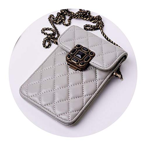 Sheep Leather Lambskin Quilting Chain Mobile Cell Phone Bags Crossbody Messenger Shoulder Bags Mini Women Clutch Stud,Light grey
