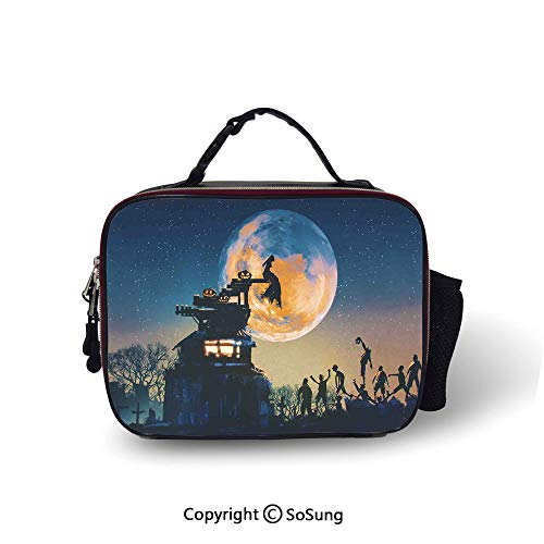 Fantasy World Insulated Lunch Bag Dead Queen in Castle Zombies in Cemetery Love Affair Bridal Halloween Theme Printed lunch bag for boys and girls,10.6x8.3x3.5 inch,Blue -