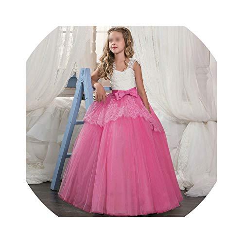 (Kids Girls Clothes Lace Flower Fancy Bridesmaid Kids Dresses Children Princess Dress Long Gowns Pageant Party Communion Costume,Rose)