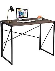 Bureau pour Ordinateur Pliable en Bois et Métal Large Surface (100x50x75 cm) Table PC pour Enfants Adultes Gaming - Marron