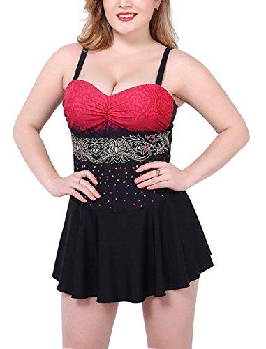 Bikini de ba o una de roja Traje grande pieza playa mujer ba o Vestido Ahatech para Talla de de Falda 7nqUafUT