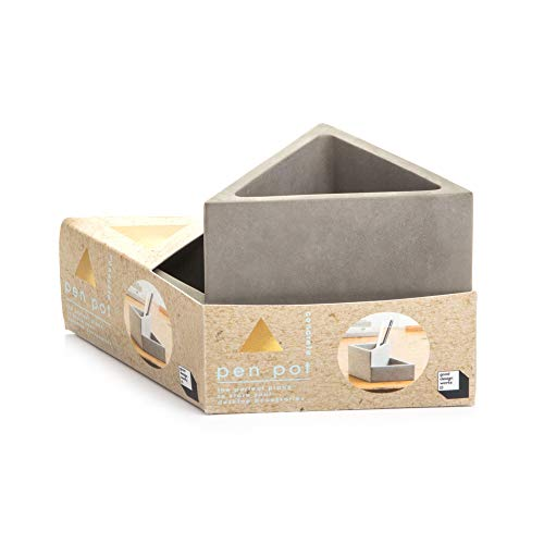 Paper Clip Pot - Good Design Works Concrete Pen/Pencil Pot, Cosmetic Make up Brush Container and Stationery Holder - Grey