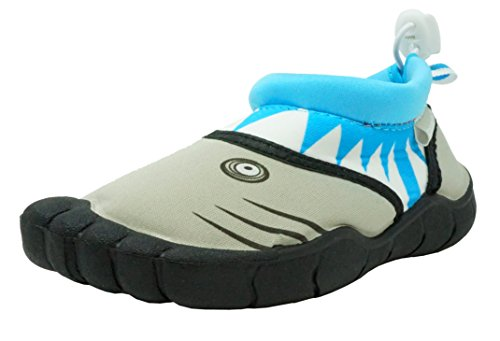 Fresko Toddler Water Shoes for Boys, Shark T1524, Turquoise, 5 M US Toddler
