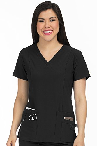 Med Couture Women's 'Activate' V-Neck In-Motion Classic Scrub Top, Black, (Scrub Couture Top)