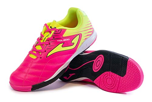 Joma Kids' Toledo Jr ID Indoor Soccer Shoes (5 Big Kid, Neon Pink/Neon Yellow/Black)
