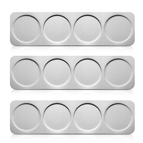 Stainless Steel Cabinet Base - 3 Stainless Steel Wall Mounted Base for Magnetic Spice Tins - Holds Total of 12 Tins (Tins Not Included)