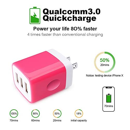 Sicodo Wall Charger Adapter,USB Cubes,3Pack Universal Travel 3.1A 3 Muti Port Plug Charging Block Compatible with iPhone… |