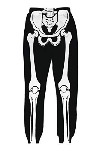uideazone Mens Women's Digital Halloween Skeleton Skull Print Graphric Sport Jogger Pants Sweatpants for Casual Party Travel