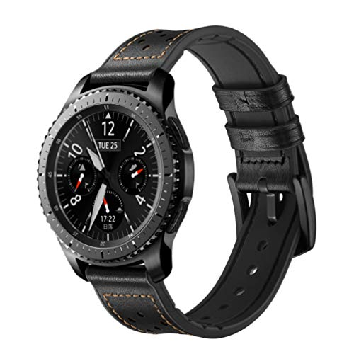 REPOO Compatible Gear S3, Replacement Bracelet Silicone with Genuine Leather Bands for Samsung Gear S3 Frontier/S3 Classic/Galaxy Watch 46mm / Moto 360 2nd Gen 46mm /Ticwatch/Huami 2/Huawei (Black)