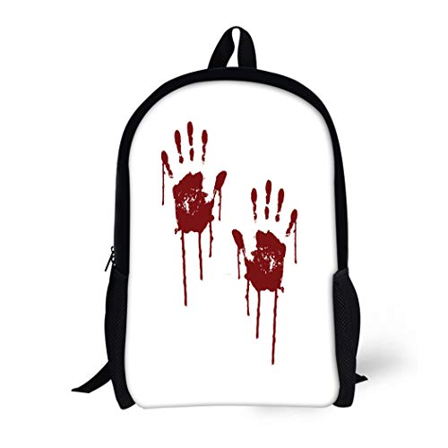 Pinbeam Backpack Travel Daypack Red Blood Bloody Scary Hands Handprint Abstract Creepy Waterproof School Bag ()