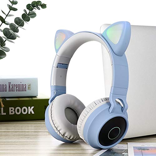 LKJG 2020 LED Cat Ear Noise Cancelling Headphones Bluetooth 5.0 Young People Kids Headset Support TF Card 3.5mm Plug…