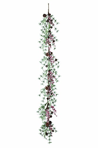 Artificial Iced Pine,Cedar with Red Berries & Pine Cones Christmas Garland - 5 ft (Berry Pinecone Red)