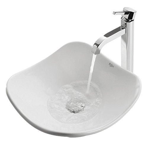 Kraus C-KCV-135-1007CH White Tulip Ceramic Sink and Ramus Faucet Chrome