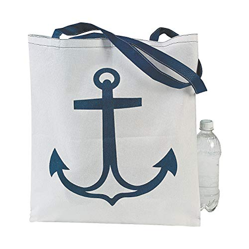 Fun Express - Large White Anchor Totes for Summer - Apparel Accessories - Totes - Novelty Totes - Summer - 12 Pieces