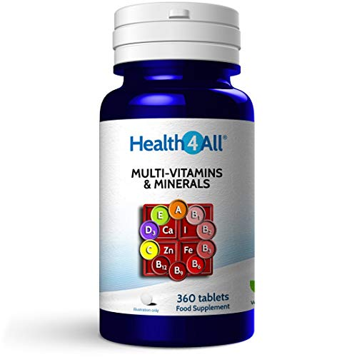Multivitamins & Minerals One a Day 360 Tablets 100% RDA. Made by Health4All