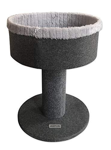 ASPCA Modern Cat Pedestal Bed Furniture Condo for Scratch & Napping, Dark Gray
