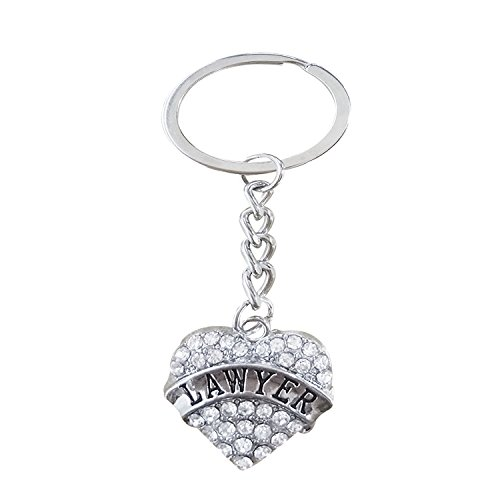 Engraved Silver Key Chain for Lawyer | Lawyer Graduation Gifts for Her | Heart Shaped Rhinestone Keychain for Women | Lawyer Birthday Gift -