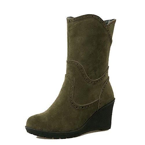 Allhqfashion Para Mujer De Tacones Altos Helados Low-top Solid Pull-on Botas Verde