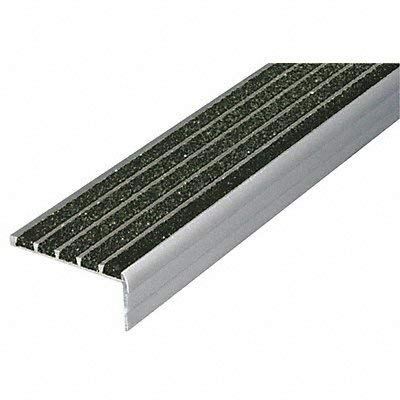 WOOSTER PRODUCTS 132BLA4 Stair Nosing, Black, 48in W, Extruded Alum by WOOSTER PRODUCTS