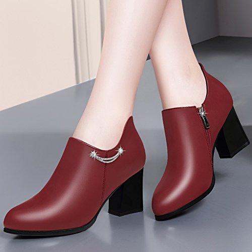 Printemps Rouge Taille British En Style Talons Femmes Hwf Pointu Couleur Noir Femme À Unique Hauts De Cuir Chaussures Travail 40 BwTnqHt