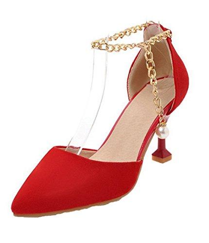Tacón Mujeres Alto Puntera Rojo Gmxlb009315 Vestir Cerrada Agoolar Esmerilado Sandalias De qSwAIAB