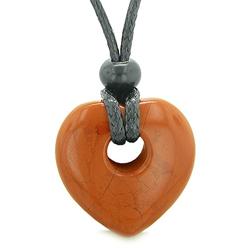 - Amulet Lucky Heart Donut Shaped Charm Red Jasper Gemstone Pendant Spiritual and Healing Powers Necklace