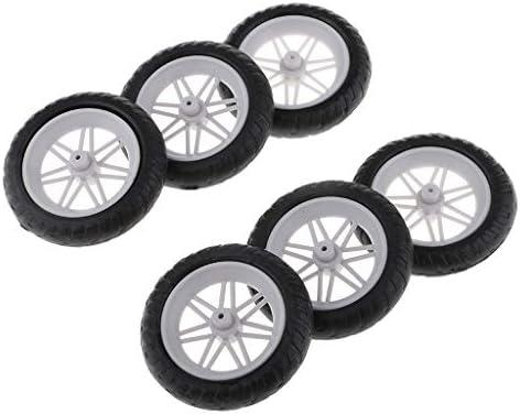 タイヤ ホイールセット ゴム プラスチック おもちゃ 車輪 オートバイスペアパーツ 6個 耐久性