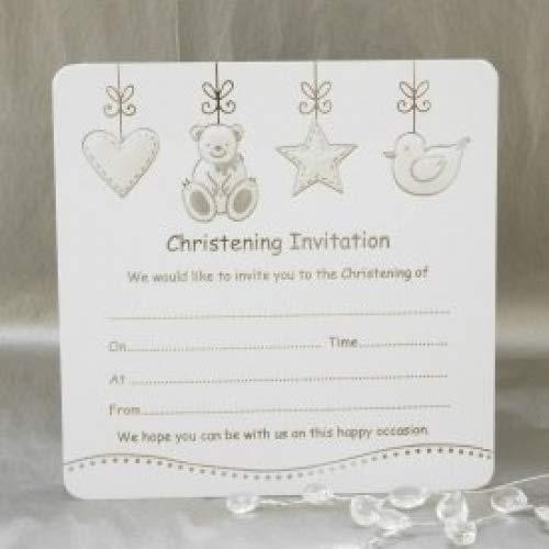 10 unidades de oso con tarta de bautizo de estrellas y tarjeta de o cama de matrimonio invitaciones con sobres - de color blanco y plateado Jean Barrington JB193