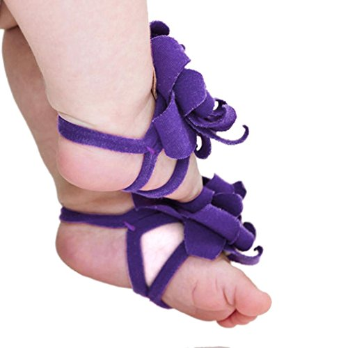 DZT1968® Baby Girl Cloth Foot Flower Shoes Barefoot Sandals 1 Pair (Purple)