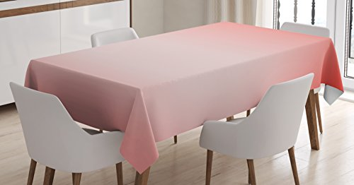 Ambesonne Peach Tablecloth, Abstract Ombre Composition in Feminine Colors with Dreamy Display Art Print, Dining Room Kitchen Rectangular Table Cover, 60 W X 84 L inches, Dark Coral