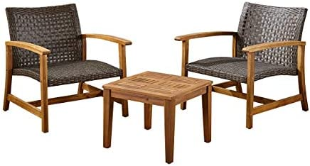 Great Deal Furniture Alyssa Outdoor 3 Piece Wood and Wicker Club Chairs and Side Table Set