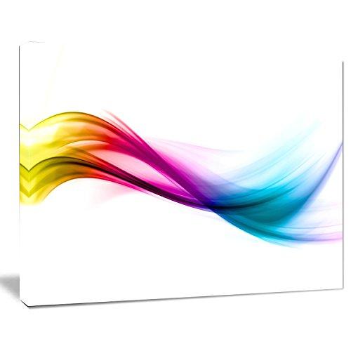 Abstract Print Rainbow (Designart PT8212-40-30 Rainbow Shade waves Abstract Digital Art canvas Print,Pink)