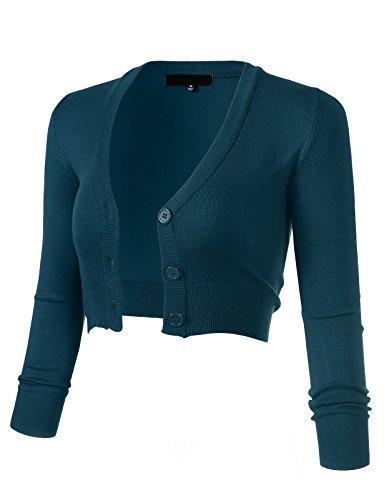 ARC Studio Women's Solid Button Down 3/4 Sleeve Cropped Bolero Cardigans 3XL Teal Blue CO129
