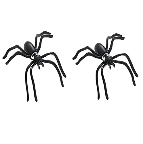 - Sexy Sparkles Halloween Jewelry Spider 3D Double Sided Ear Stud Cute Earring for Women Men 2PCS