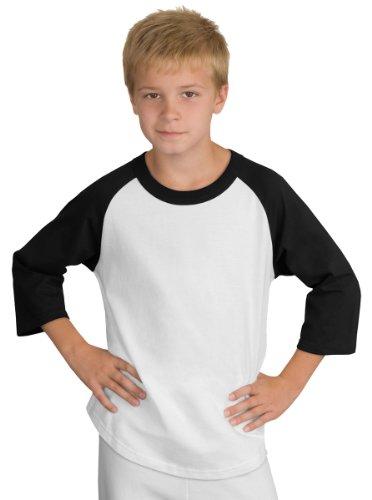- Sport-Tek Youth Colorblock Raglan Jersey, White/Black, XS