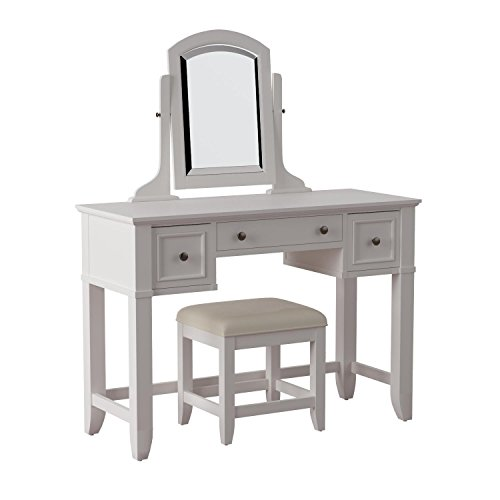 Home Styles 5530-72 Naples Vanity Table and Bench, White Fin