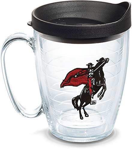 Tervis 1085095 Texas Tech Red Raiders College Vault Logo Tumbler with Emblem and Black Lid 16oz Mug, Clear