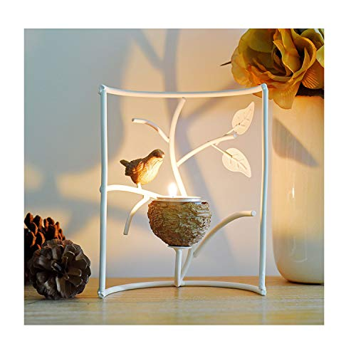 Marbrasse Metallic Votive Candle Holders, Decorative TeaLight Candle Stands for Table, Vintage Home Decor Centerpiece Features Bird, Nest and Tree (White) from Marbrasse
