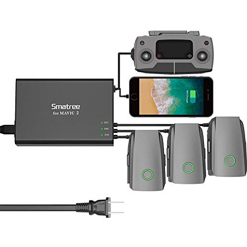Price comparison product image Smatree Mavic 2 Pro Battery Charger, 5 in1 Rapid Smart Battery Charger Hub (Charge 3 Batteries & 2 USB Ports Simultaneously) with 180W Rapid Battery Power Adapter Compatible with DJI Mavic 2 Pro/Zoom