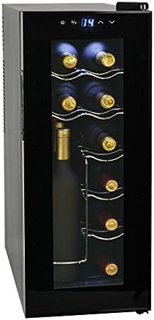 vidaXL Vinoteca de 12 Botellas 35 L Pantalla LCD Electrodoméstico Nevera Vinos